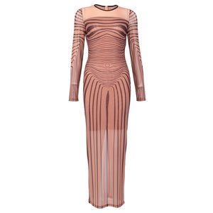 Feeling Myself Long Sleeve Mesh Dress (Sizes:S - XL)