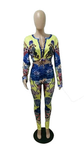 New Sexy Boho Flower Print Two Piece Sweat Suit