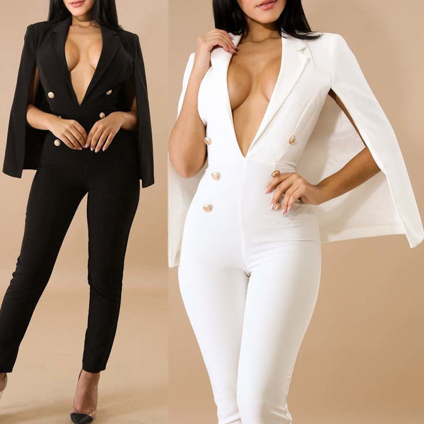 Plunge V Neck Double Breasted Coat Tailored Blazer Jumpsuit