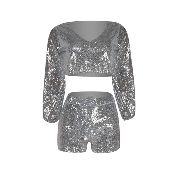 2019 Sequins Crop Top & Short Set (Sizes:S-XXL) Ships from USA