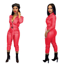 Sexy PU Leather Zip Up Jumpsuit S-XXL
