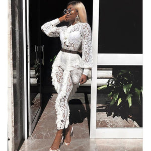 Sexy Sheer Long Sleeve White Lace Jumpsuit