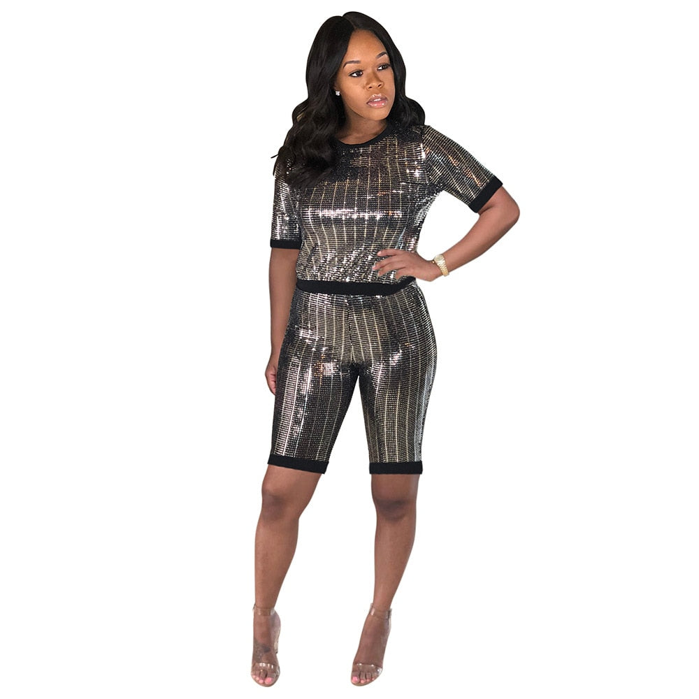 Shine On Em Sequin Short Set (Sizes:S -XXL) Ships from USA