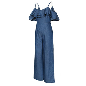 Wide Leg Spaghetti Strap Denim Jumpsuit (Sizes: S - XL)