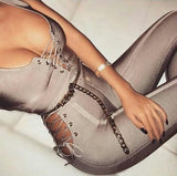 Sexy Gray V Neck Bandage Jumpsuit