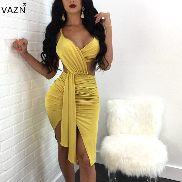 Sexy Yellow Fashion  Spaghetti Strap Bandage Dress