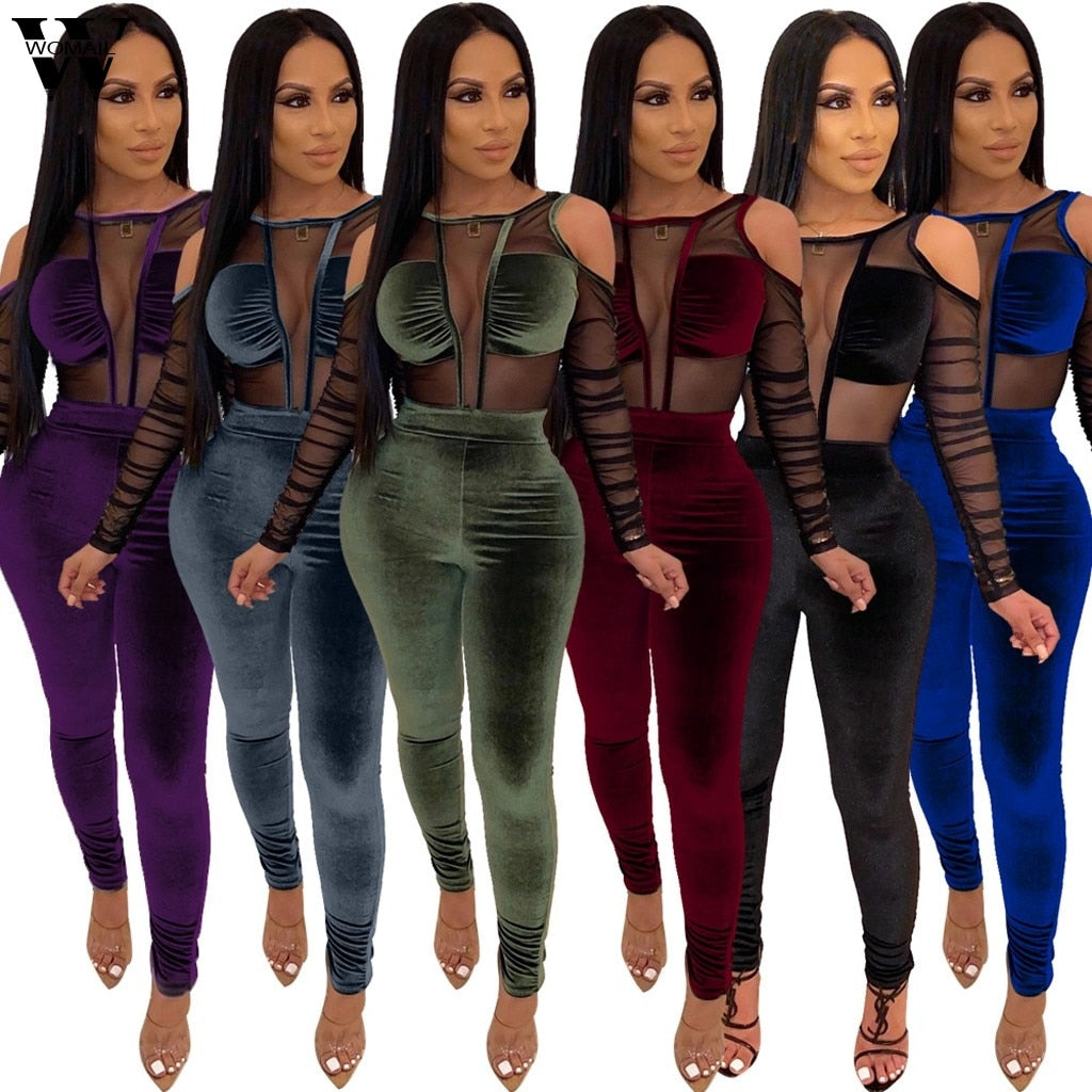Sexy Off Shoulder Long Sleeve Jumpsuit S-XXL