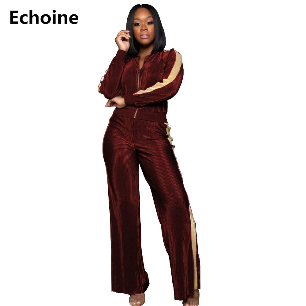 Woman Velvet 2 Piece Wide Leg Matching Set S - XXL