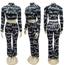 Woman's Letter 2 Piece Crop Top Pants Set (S-XXL) Ships from USA or China