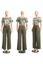 Sexy Camouflaged Crop Top / Wide Leg Pant Set (Sizes:S-XL)