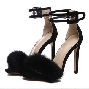 Sexy Fur Ankle Strap High Heels (Sizes 5 -10.5)