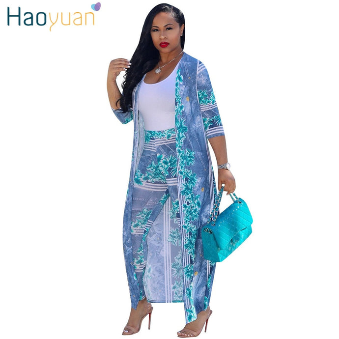 Plus Size Cardigan Cloak Casual Summer Two Piece Outfit