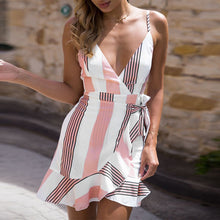 Striped Deep V -Neck Party Dress