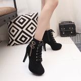 Women Sexy High Heels Platform Ankle Boots Thin Heel Lace-Up Boots Shoes