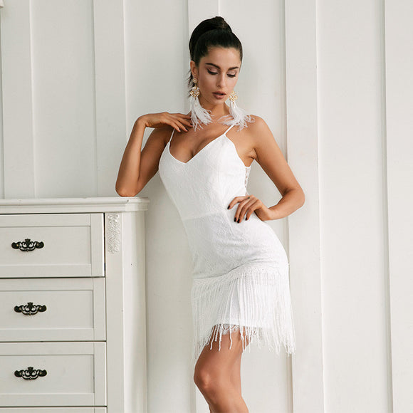 Sexy V- Neck white lace tassel mini dress
