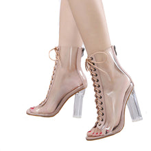 See Through, Tie'd Up Ankle Boots. Sizes: 5.5 - 8.5