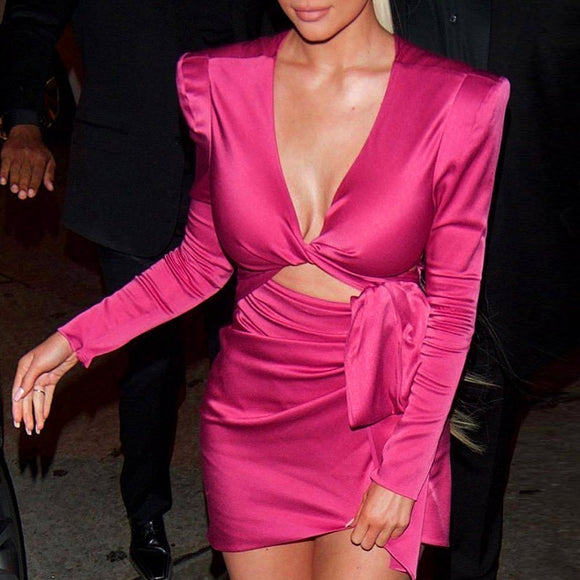 Pink Satin Deep V Neck