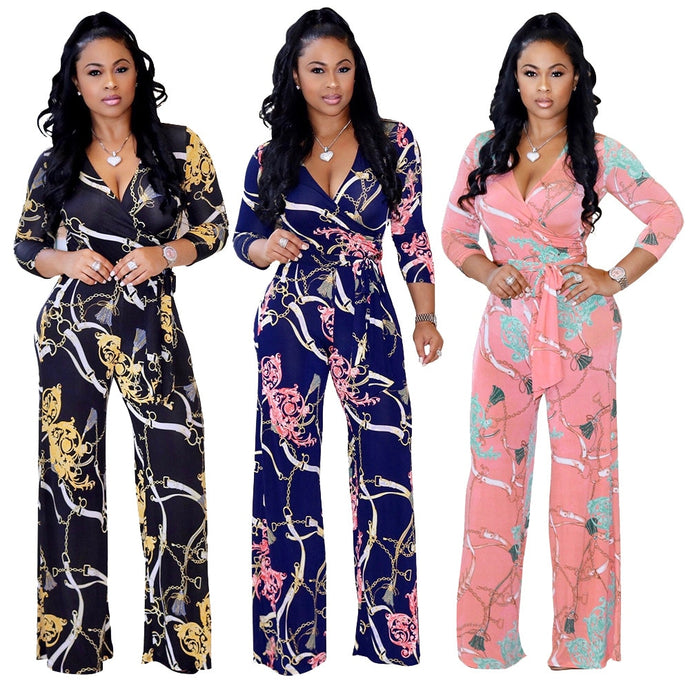 Small - Plus Size  Floral V-Neck Jumpsuits