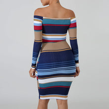 Knitted Striped Off Shoulder Mini Dress