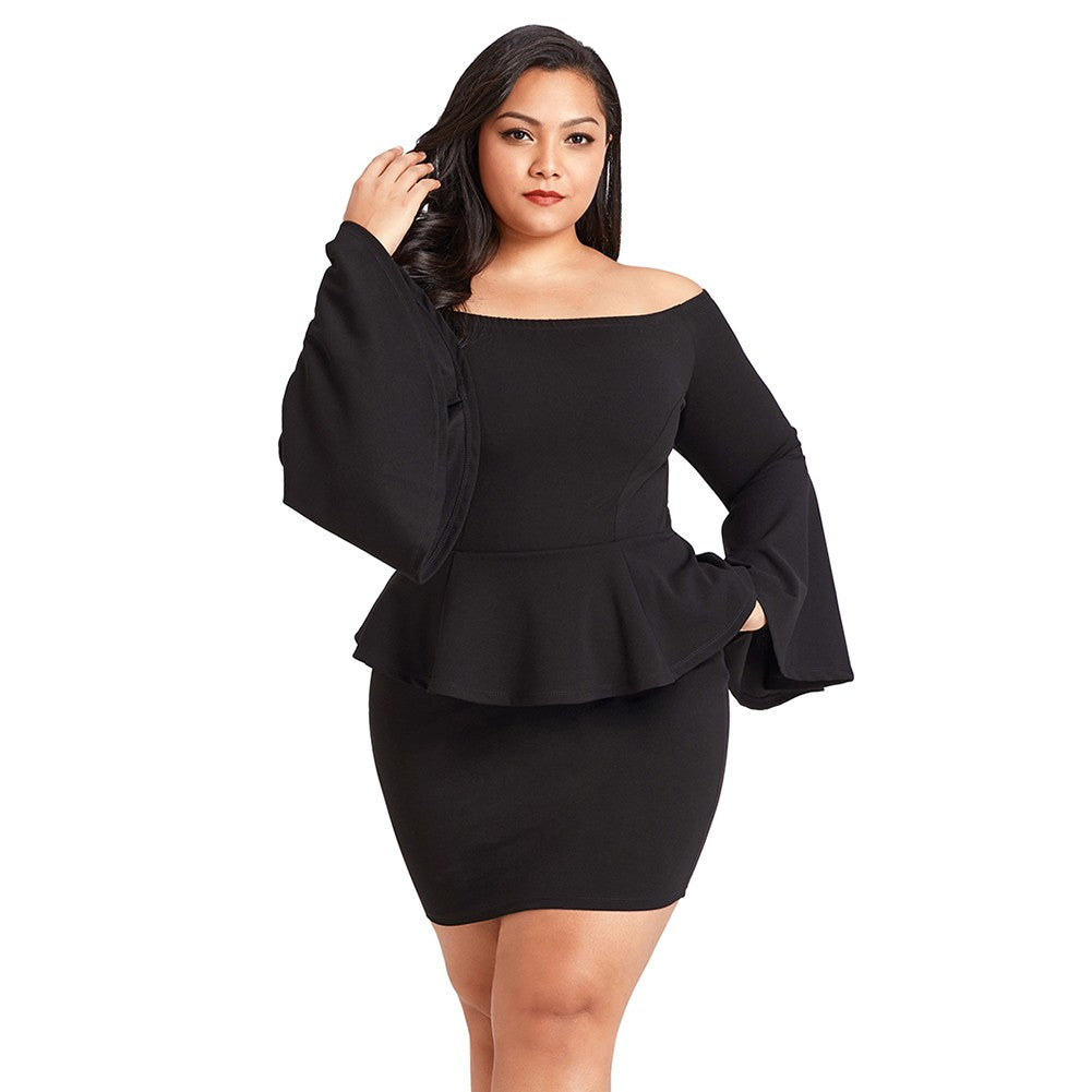 Women Off the Shoulder Sexy Plus size dress (black/pink)