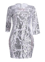 Sequin Evening Mini Silver Party Dress