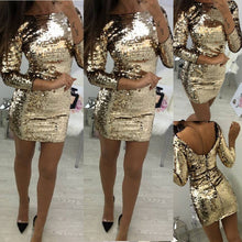 Sexy Gold Sequin Cocktail Party Dress