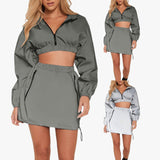 2 Pieces eflective Cropped Hoodies skirt Set