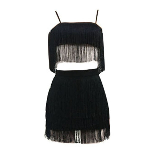 Sexy Tassels Two Piece Spaghetti strap Dress