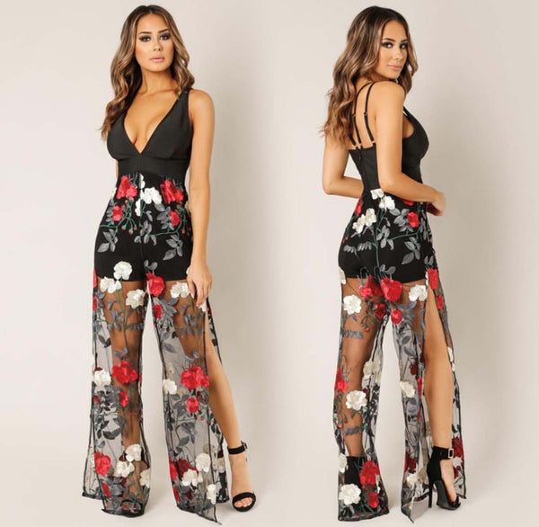 Sexy Flower Embroidery Sheer Jumpsuit