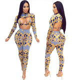 Tie Up Long Sleeve Crop Top Two Pieces Set (S-XL)