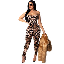 Sexy Leopard Print Tie Me Up Backless Jumpsuit