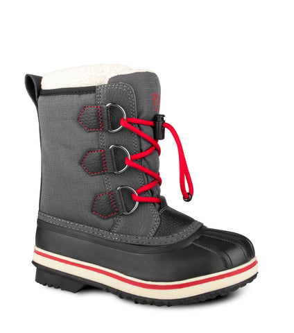 Snowflake, Grey & Red | Winter Kids Boots