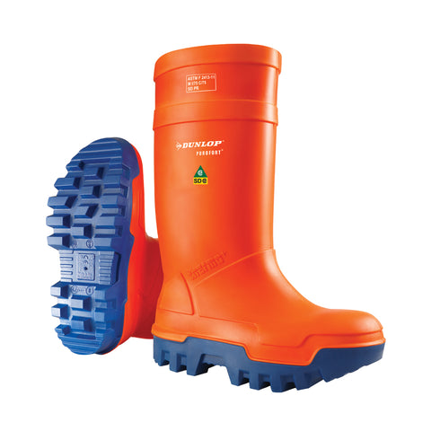 Purofort Thermo+ Full Safety, Orange| Safety Insulated SD Rain Boots - Dunlop Canada