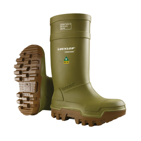 Purofort Thermo+ Full Safety, Green | Safety Insulated SD Rain Boots - Dunlop Canada