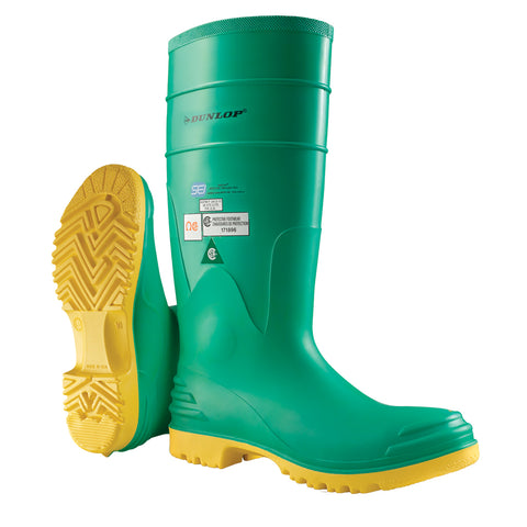 Hazmax, Green | 16'' Chemical Resistant PVC Safety Rain Boots