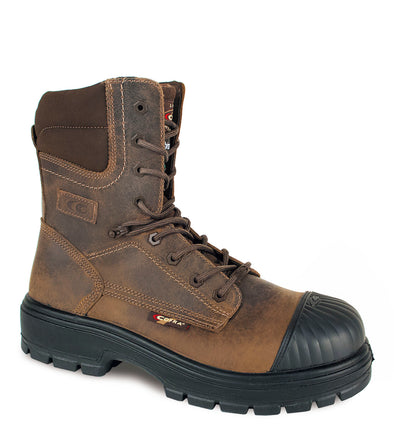 "Anaheim, Brown | 8"" Work Boots metal free and anti slip"