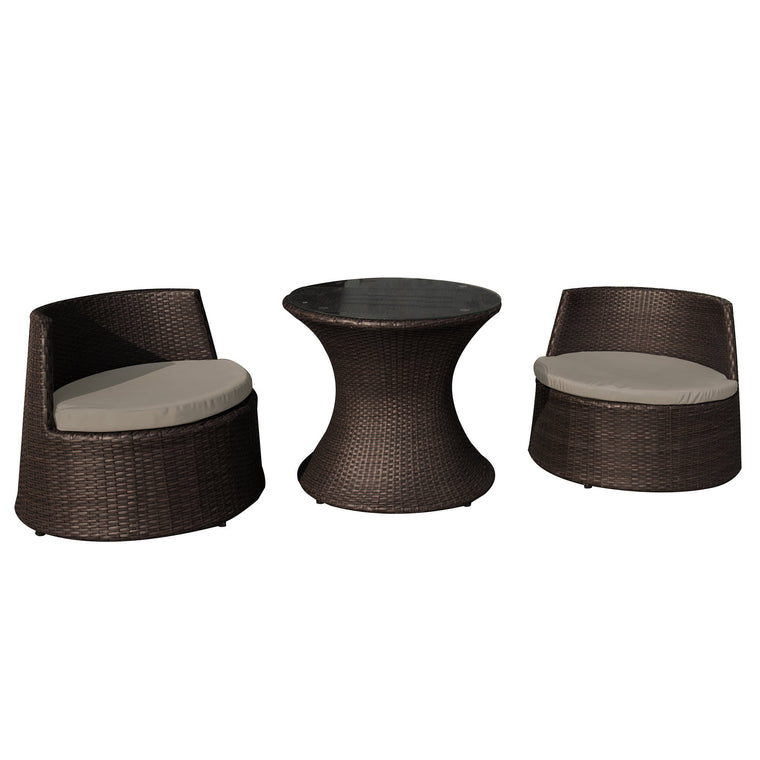 Island Retreat Oasis 3 Piece Outdoor Wicker Chat Set - 2 Chairs, Table