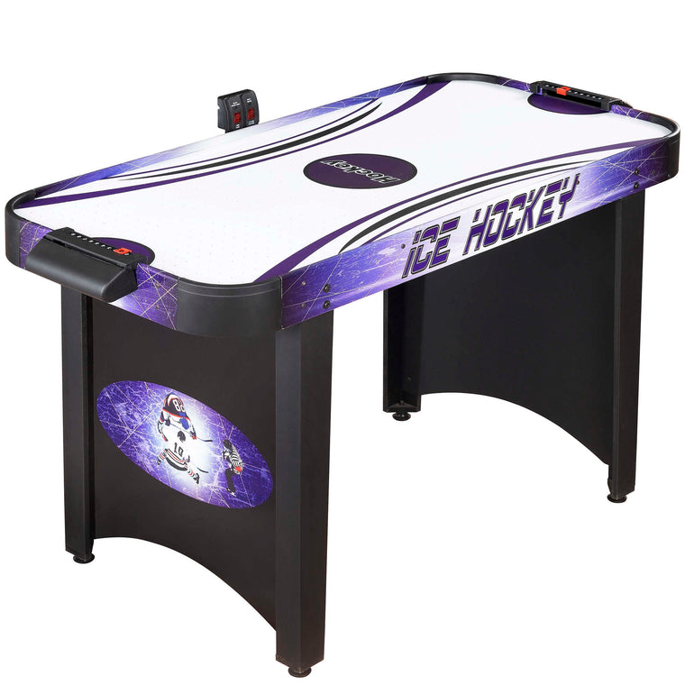 Hat Trick 4-Ft Air Hockey Table for Kids and Adults with Electronic and Manual Scoring, Leg Levelers