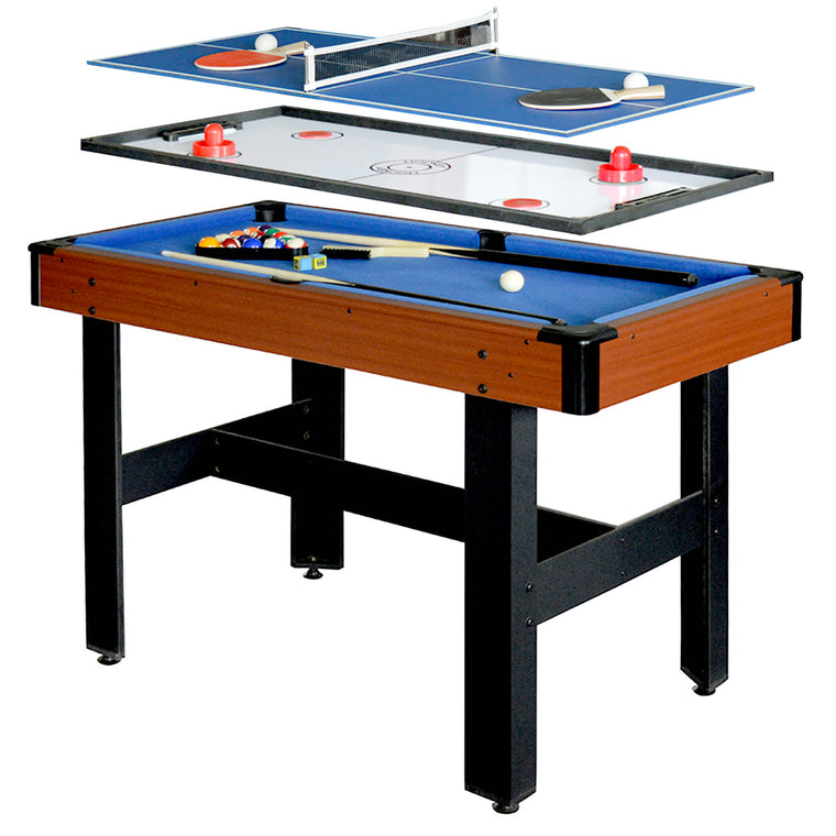 Hathaway Triad 3-In-1 48-In Multi Game Table with Pool, Glide Hockey, and Table Tennis