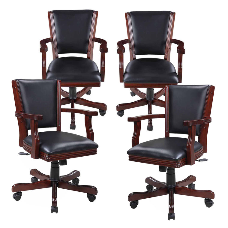 Kingston Walnut Poker Table Arm Chair - Set of 4