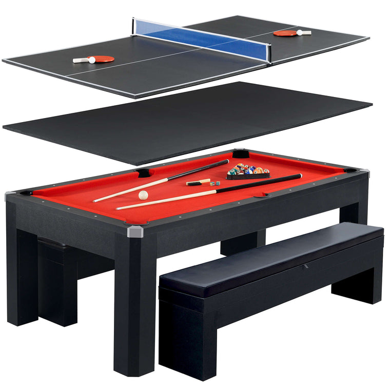 Hathaway Park Avenue 7-Foot Pool Table Tennis Combination with Dining Top, Two Storage Benches, Free Accessories