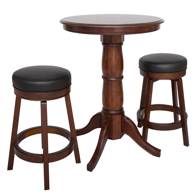 Carmelli Oxford Pub Table Set - Hardwood Stools, Table w Walnut Finish | BG2715W