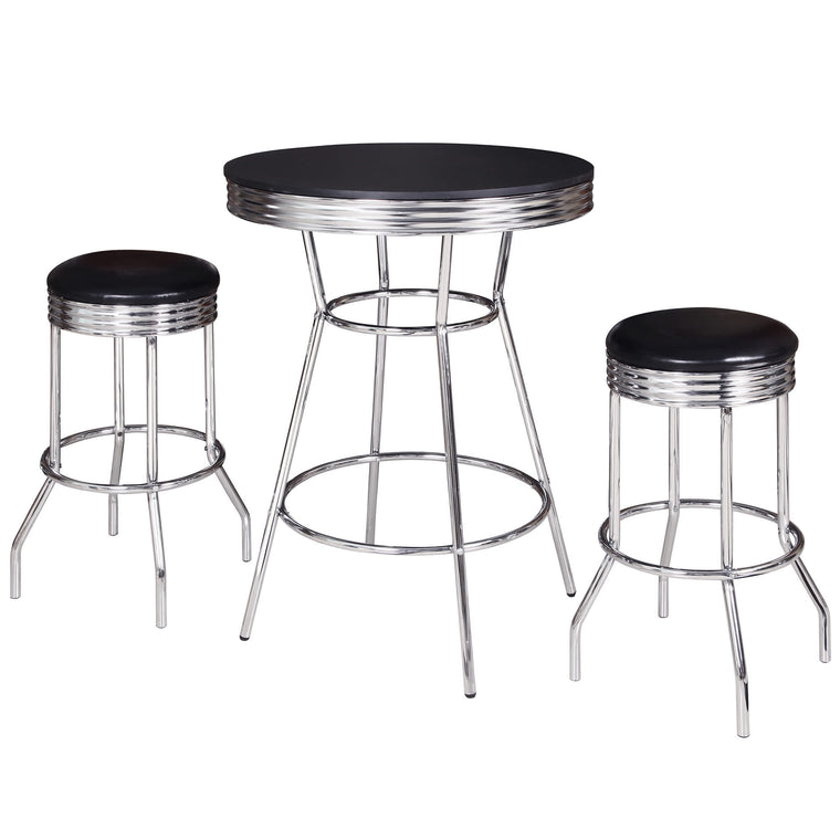 Hathaway Remington 3 Piece Pub Table Set - Chrome and Black