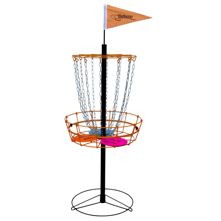 Hathaway Disc Golf Set w Steel Canopy & Catch Basket, 6 Discs | BG3143