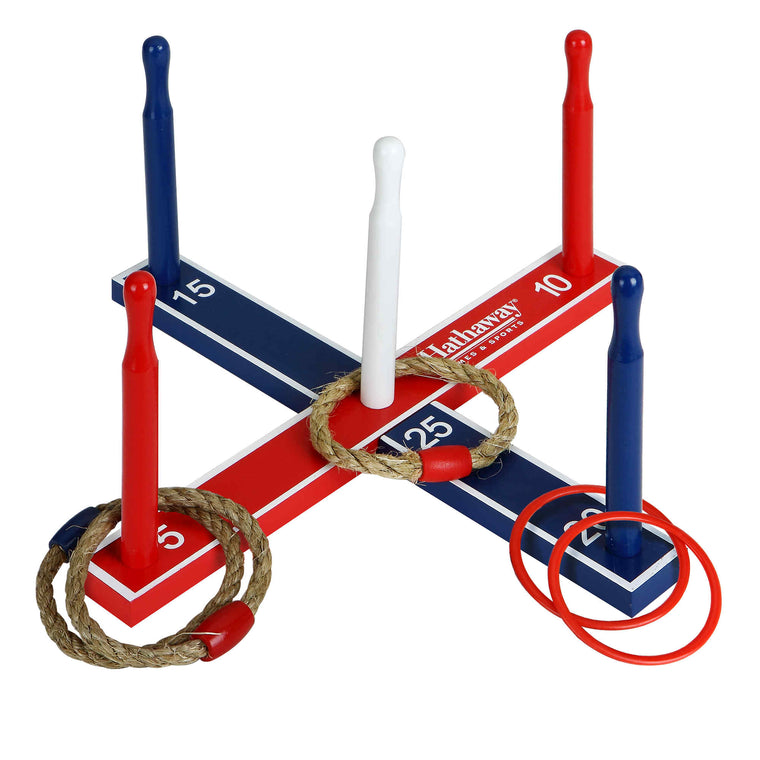 Hathaway Ring Toss Set w Dowels, 4x ABS & 4x Rope Rings | BG3144 - Recreation.Deals