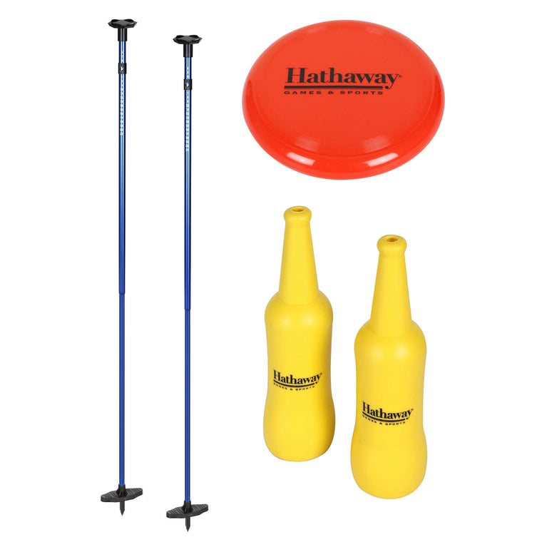 Hathaway Bottle Blast Polish Horseshoes Set with Throwing Disc – Blue/Yellow