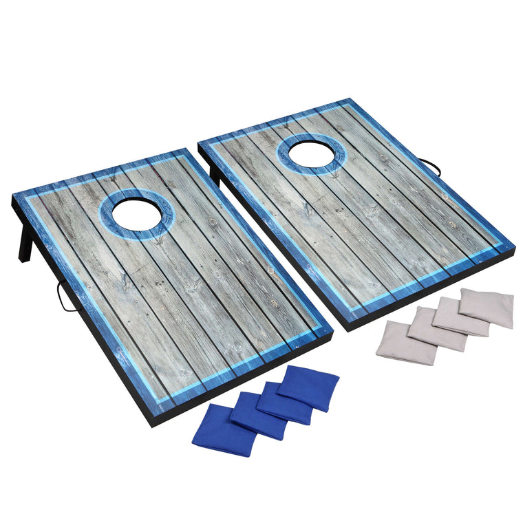 Hathaway LED Cornhole Set with Target Boards and 8 Bean Toss Bags – Blue/White