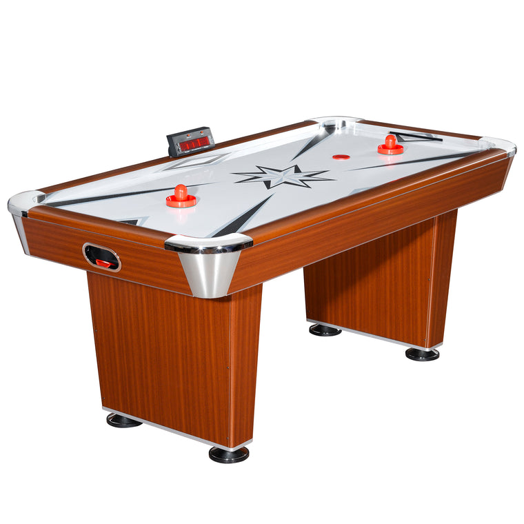 Carmelli Midtown 6-Foot Air Hockey Table with Electronic Scoring and Cherry Wood-Tone
