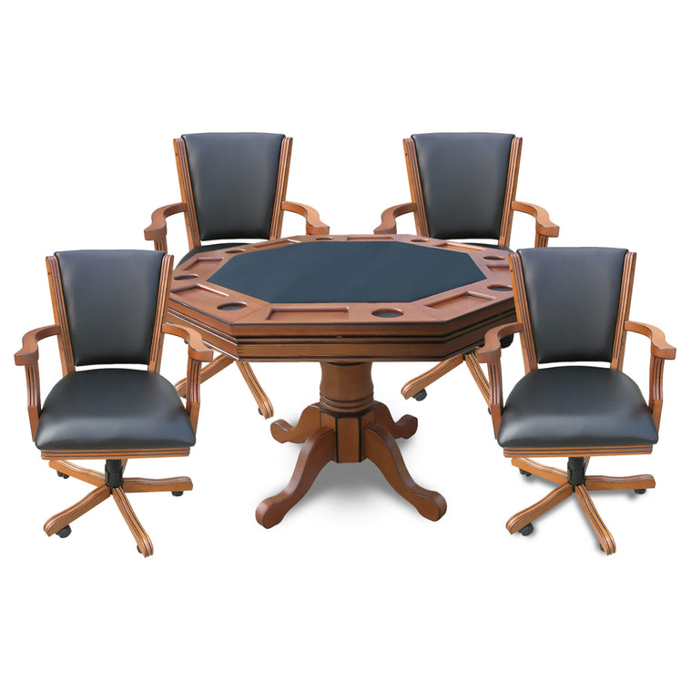 Carmelli 3-in-1 Poker Table w/ 4 Arm Chairs w Oak Finish