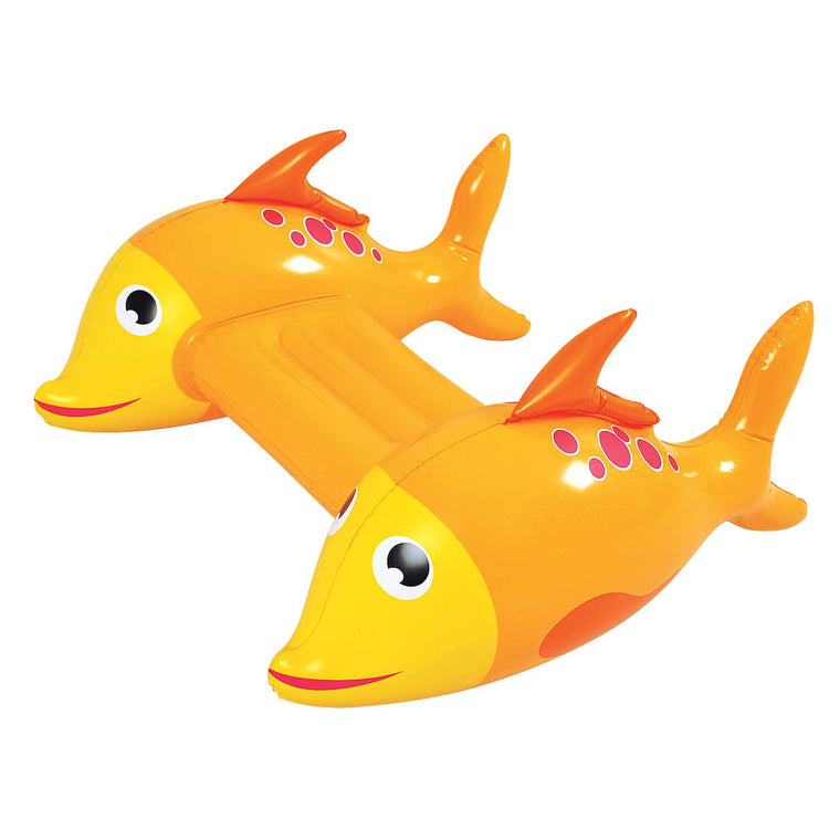 RhinoMaster Play Inflatable Pool Kickboard - Adventurous Fish Orange Novelty Float